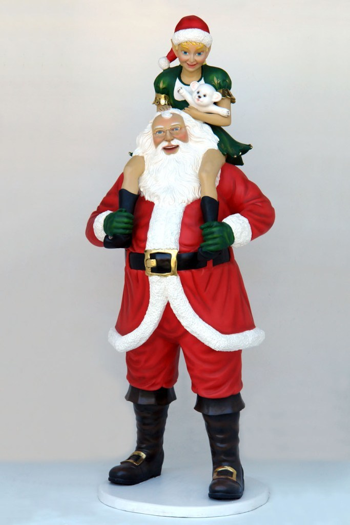 Santa with elf girl 7 7ft jr 2735 the jolly roger life size 3d
